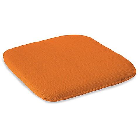 Solid outdoor chair cushion in orange bed bath beyond - Orange kitchen chair cushions ...