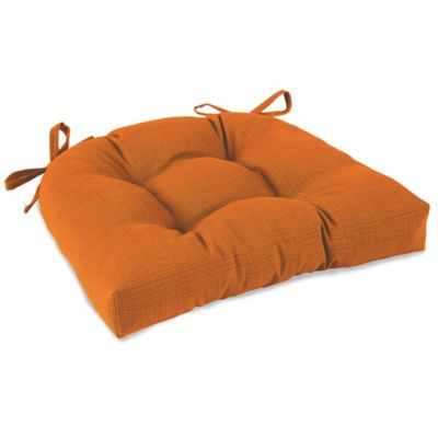 Solid Outdoor Tufted Cushion with Ties in Orange