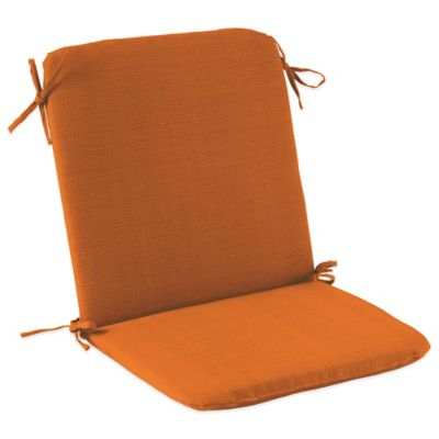 Solid Outdoor Mid Back Cushion with Ties in Orange
