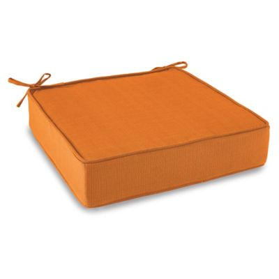 Solid Outdoor Deep Seating Cushion with Ties in Orange