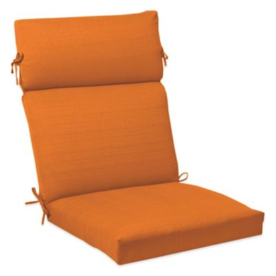 Solid Outdoor High Back Cushion with Ties in Orange