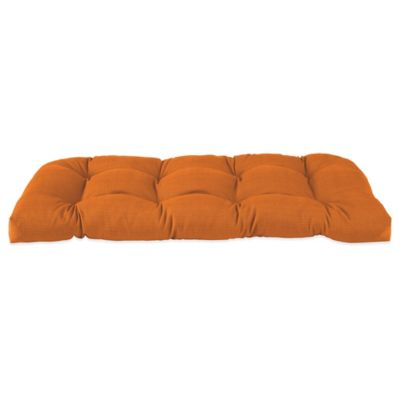 Solid Outdoor Settee Cushion in Orange