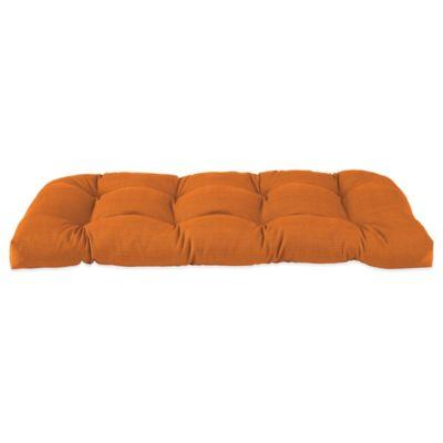 Solid Outdoor Settee Cushion in Orange