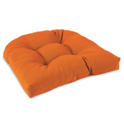 Solid Outdoor Tufted Cushion in Orange