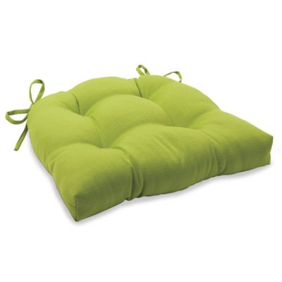 Solid Outdoor Tufted Cushion with Ties in Kiwi
