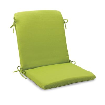 Solid Outdoor Mid Back Cushion with Ties in Kiwi