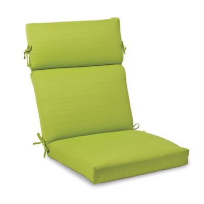 Solid Outdoor High Back Cushion with Ties in Kiwi
