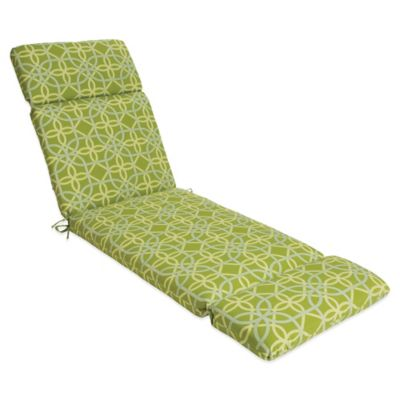 Outdoor Chaise Cushion in Fret Kiwi
