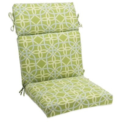 Outdoor High Back Cushion with Ties in Fret Kiwi