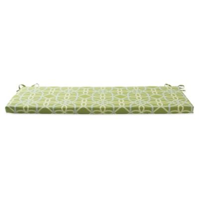 Outdoor Bench Cushion with Ties in Fret Kiwi