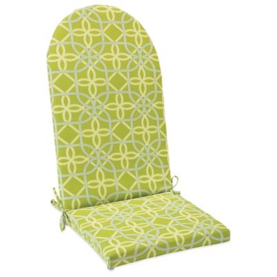Outdoor Adirondack Cushion with Ties in Fret Kiwi