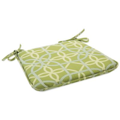 Outdoor Bistro Chair Cushion with Ties in Fret Kiwi