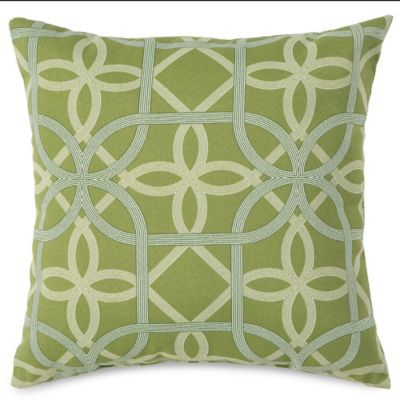 Print Square Outdoor Throw Pillow in Fret Kiwi