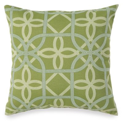 Print Outdoor Throw Pillow in Fret Kiwi