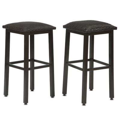 Barrington Wicker Padded Barstools (Set of 2)