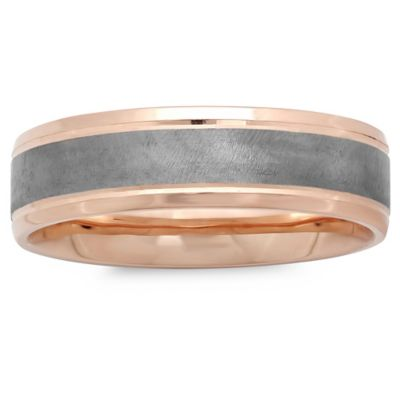 10K Rose Gold Black Satin Center Size 13.5 Men's Wedding Band