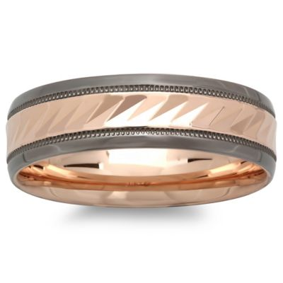 Trimmed 10K Rose Gold Diagonal-Etched Size 9.5 Men's Wedding Band