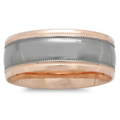 10K Rose Gold Black Satin Center Size 11 Men's Milgrain Wedding Band