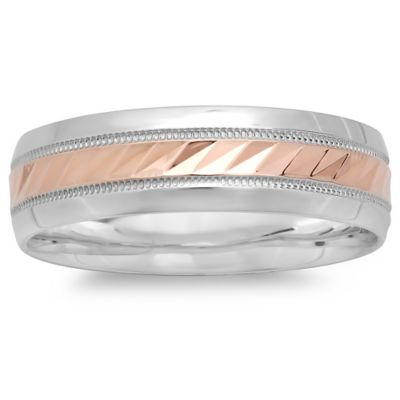 Silvertone and 10K Rose Gold Diagonal-Etched Size 10 Men's Wedding Band