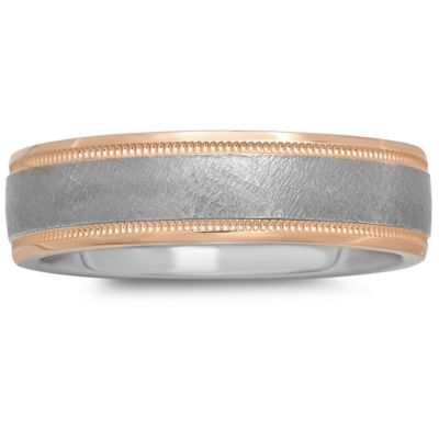 Plated-Sterling Silver and 14K Rose Gold Brushed Center Size 9.5 Men's Milgrain Wedding Band