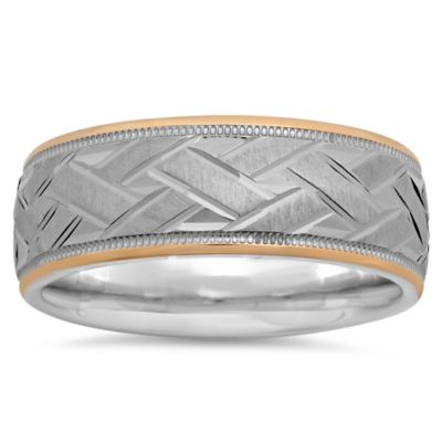 Sterling Silver and 14K Rose Gold Basketweave-Etched Size 13.5 Men's Wedding Band
