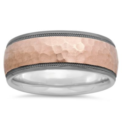 Black Plated-Sterling Silver and Hammered 14K Rose Gold Size 10 Men's Milgrain Wedding Band