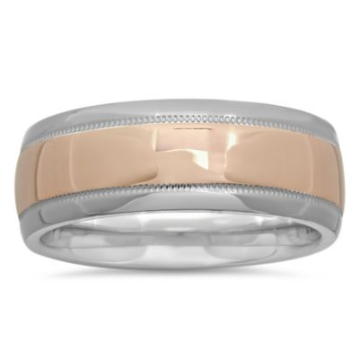 Plated-Sterling Silver and 14K Rose Gold Size 10 Men's Milgrain Wedding Band