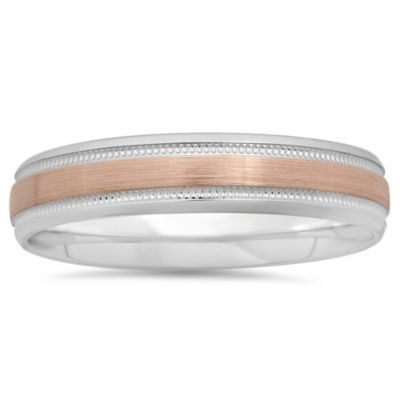 10K White and Rose Gold Milgrain Size 8.5 Ladies' Wedding Band