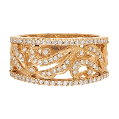 Badgley Mischka 14K Yellow Gold .53 cttw Diamond Filigree Size 5 Ladies' Bridal Ring