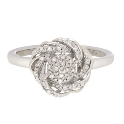 Sterling Silver .10 cttw Diamond Flower Knot Size 5 Ladies' Ring