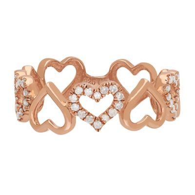 Rose Gold-Plated Sterling Silver .21 cttw Diamond Open Hearts Size 5 Ladies' Band