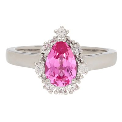 Sterling Silver Created Pink and White Sapphire Framed Pear Size 5 Ladies' Ring