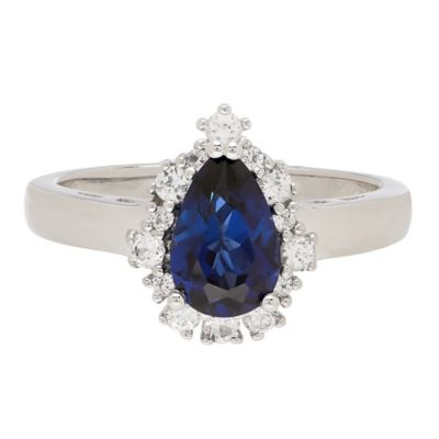 Sterling Silver Created Blue and White Sapphire Framed Pear Size 8 Ladies' Ring