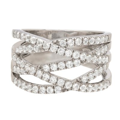 Sterling Silver 1.42 White Topaz Criss-Cross Size 8 Ladies' Band Ring