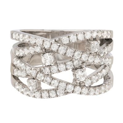 Sterling Silver 1.58 White Topaz Studded Criss-Cross Size 5 Ladies' Band Ring
