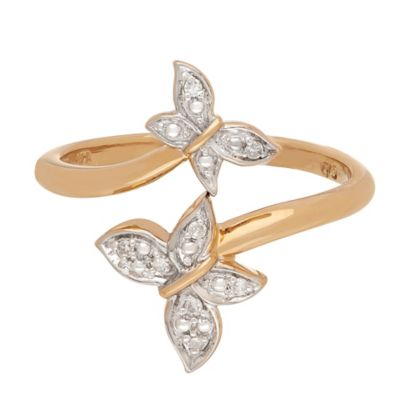 Badgley Mischka 14K Yellow Gold .04 cttw Diamond Butterfly Bliss Size 8 Ladies' Ring