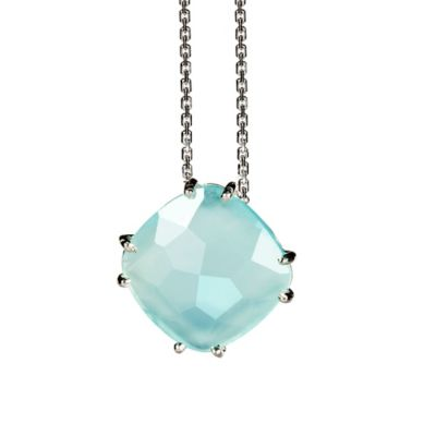 Suzanne Kalan Sterling Silver 12mm Cushion Cut 3.5 cttw Chalcedony Pendant Necklace