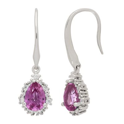 Sterling Silver Created Pink and White Sapphire Framed Pear Earrings