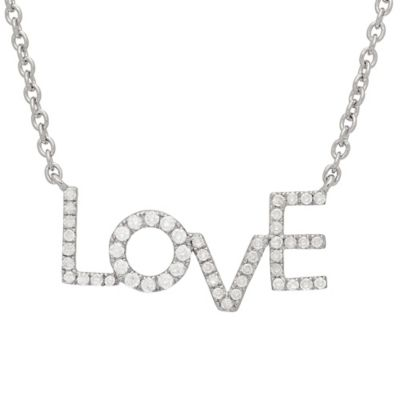 Sterling Silver .31 cttw Diamond Love Pendant Necklace