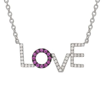 Sterling Silver .19 cttw Diamond and Pink Sapphire Love Necklace