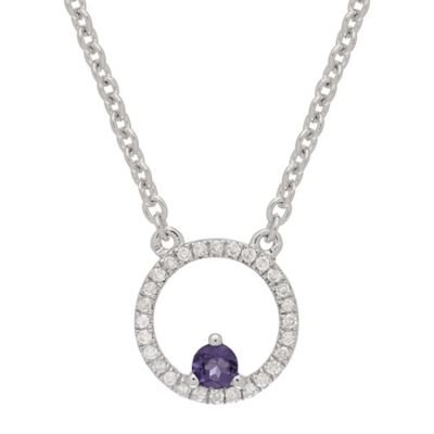 Sterling Silver .11 cttw Diamond and Amethyst Circle Pendant Necklace