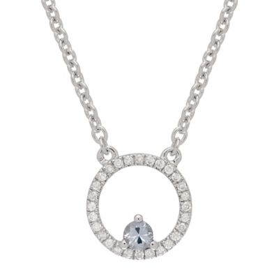 Sterling Silver .11 cttw Diamond and White Sapphire Circle Pendant Necklace