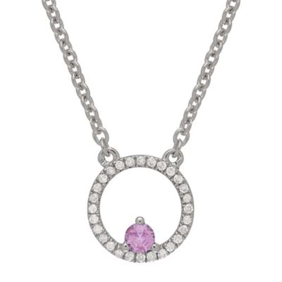Sterling Silver .11 cttw Diamond and Pink Sapphire Circle Pendant Necklace