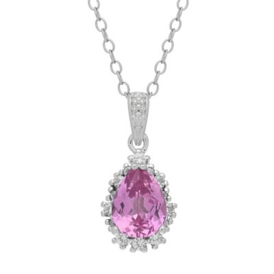 Sterling Silver Created White and Pink Sapphire Frame Pendant Necklace