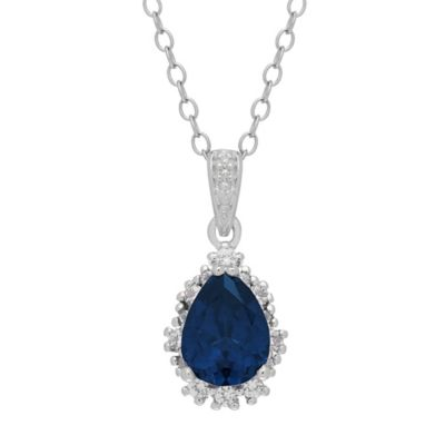 Sterling Silver Created Blue and White Sapphire Framed Pear 18-Inch Chain Pendant Necklace