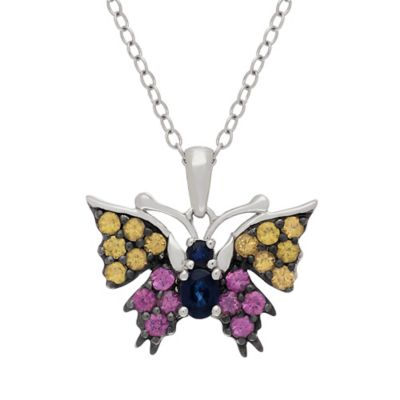 Badgley Mischka Sterling Silver, Blue, Pink and Yellow Sapphire Butterfly Pendant Necklace
