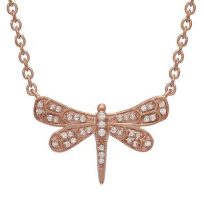 Badgley Mischka® Rose Gold Plated Sterling Silver .13 cttw Diamond Dragonfly Pendant Necklace
