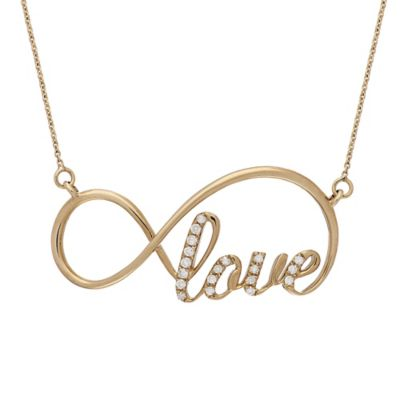 Badgley Mischka® 14K Yellow Gold .10 cttw Diamond Infinite Love Necklace