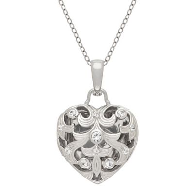 Badgley Mischka® Sterling Silver White Sapphire Heart Locket 18-Inch Pendant Necklace