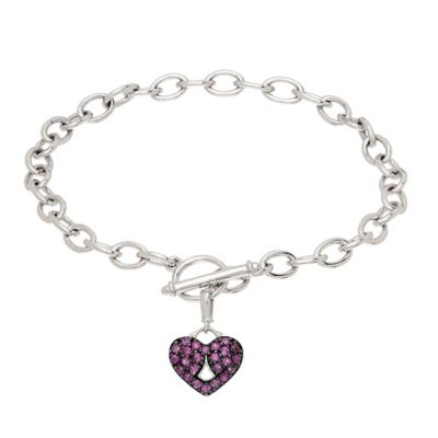 Badgley Mischka® Sterling Silver Pink Sapphire 7-Inch Chain Pave Heart Bracelet